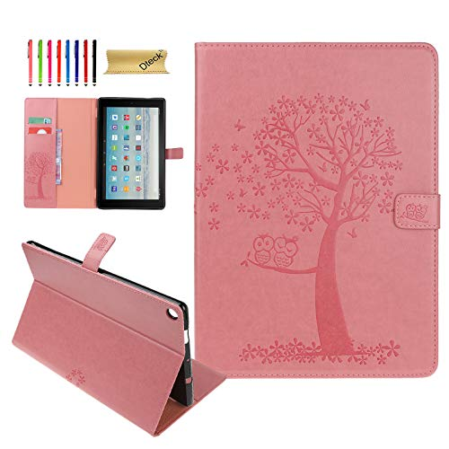 Fire HD 10 Case, Dteck Premium PU Leather Case Embossed Tree and Owl Design Folio Stand Cover with Card Holders for All-New Kindle Fire HD 10.1
