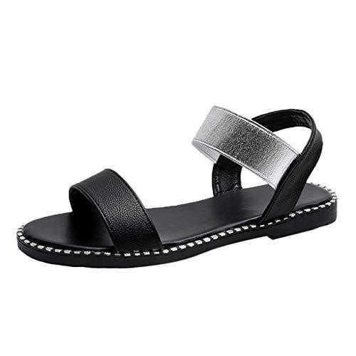 Dorical Damen Flach Sommer Sandalen,Bequeme Strand Sandalen Elastischen Schuhe Knöchelriemchen Freizeit Urlaub rutschfest Sommerschuhe für Frauen(Z1-Schwarz,40 EU)