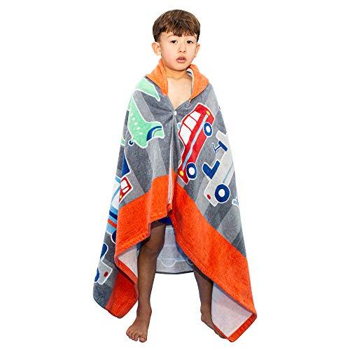 Poncho de baño para niños, 100 % algodón, toalla de baño para niños, absorbente, secado rápido, toalla con capucha suave para niños y niñas, 2 – 8 años (coche y avión)
