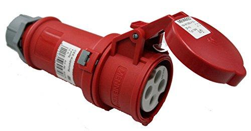 as - Schwabe CEE-Kupplung 4-polig mit Klappdeckel, 400 V, 16 A, rot, 60575
