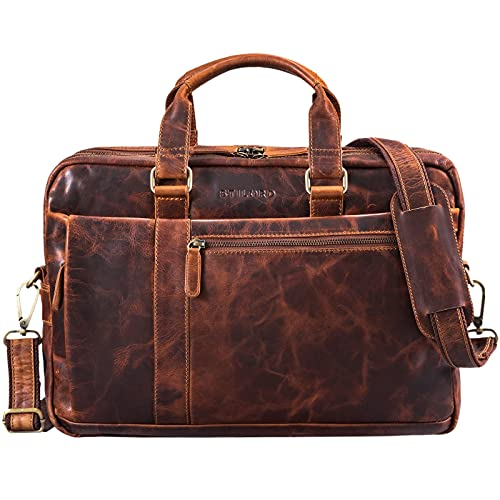 STILORD 'Nico' Vintage Umhängetasche Leder Herren Damen 15,6 Zoll Laptoptasche groß Aktentasche Arbeit Büro Uni echtes Rindsleder, Farbe:Kara - Cognac