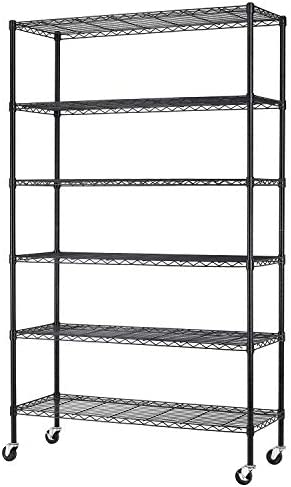 """BestMassage 82""""x48""""x18"""" 6 Tire Wire Shelving Unit NSF Storage Shelves Large Heavy Duty Metal Shelf Organizer Height Adjustable Commercial Grade Steel Rack 2100 LBS Capacity with Wheels,Black"""