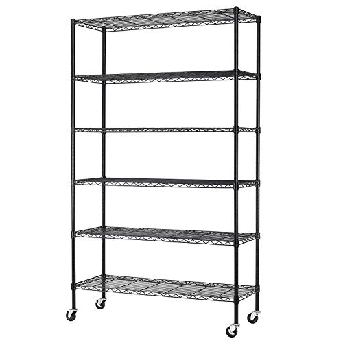 """BestMassage 82""""x48""""x18"""" 6 Tire Wire Shelving Unit NSF Storage Shelves Large Heavy Duty Metal Shelf Organizer Height Adjustable Commercial Grade Steel Rack 2100 LBS Capacity with WheelsBlack"""