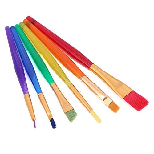 Gadpiparty Juego de 6 Pinceles para Pintura de Artista Pinceles para Pintura Al Óleo de Guache Pinceles para Acuarela Acrílica Pintura Al Óleo de Guache