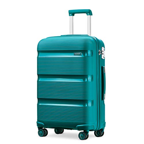 Kono Large Suitcase Hard Shell Travel Trolley 4 Spinner Wheels Lightweight Polypropylene Check in Luggage with TSA Lock (Turquoise,76cm/100L)