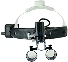 Dental 5W LED Surgical Headlight 2.5X420mm Leather Headband Loupe with Light DY-105 Black by SuperElight