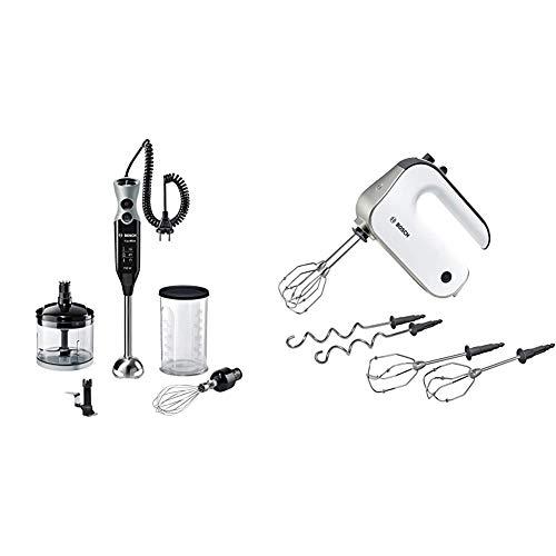 Bosch MSM67170 ErgoMixx Stabmixer-Set (Edelstahl-Mixfuß, Mixbecher, 12 Geschwindigkeitsstufen, 750 Watt) schwarz/grau & MFQ4835DE Styline, Premium-Handrührer, 2 Paar Rührbesen, 575 W, Edelstahl, weiß