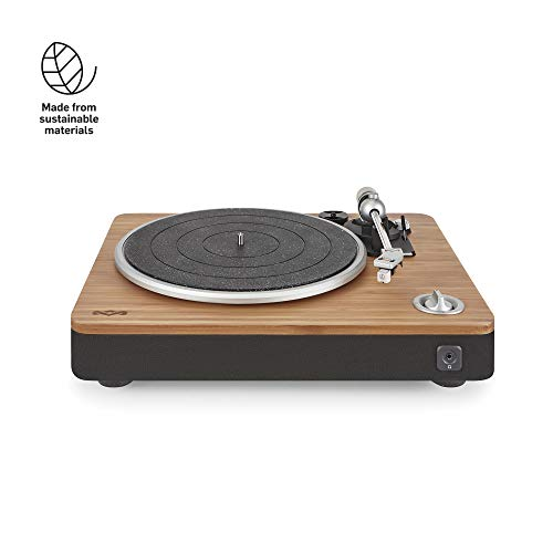 House of Marley platine Stir It Up - Platine Vinyle, Préampli Stéréo, Port USB, Record LP à PC, 33 + 45 Tr / min, Anti-patinage, Câble Audio RCA vers 3.5mm, Housse de protection - Bambou / Noir