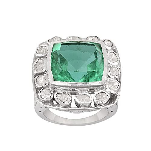 Cuarzo verde de talla cojín de 14 mm, anillo de plata de ley 925 con solitario hecho a mano con diamantes naturales, chapado en platino, anillo de declaración para mujer (24)