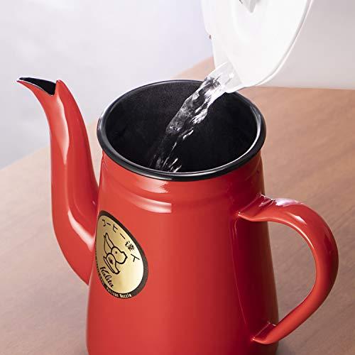 カリタKalitaコーヒーポットホーロー製コーヒ-達人ペリカン1Lレッド#52123