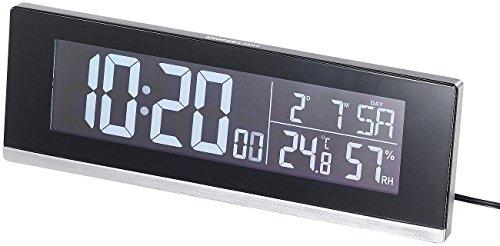 infactory Tischuhr: Tisch-Funkwecker mit Thermometer, Hygrometer und USB-Ladebuchse, 2 A (USB Wecker)