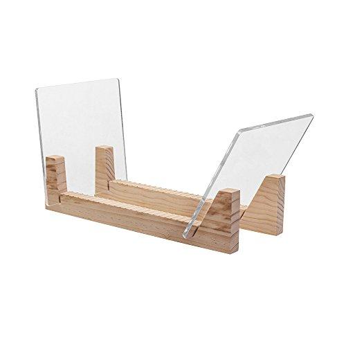 KAIU Schallplatten Aufbewahrung | Kiefernholz mit robustem transparentem Acrylhalter | Premium Design Geeignet für 12