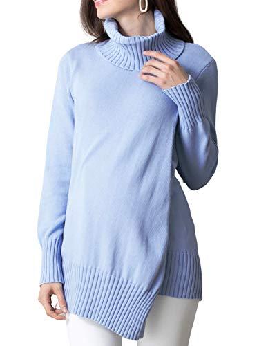 Sweet Mommy マタニティウェア 授乳服 トップス ニット 授乳ケープにもなる ドレープ型 リブ袖 オーガニックコットン100% タートルネック・F 杢ブルー