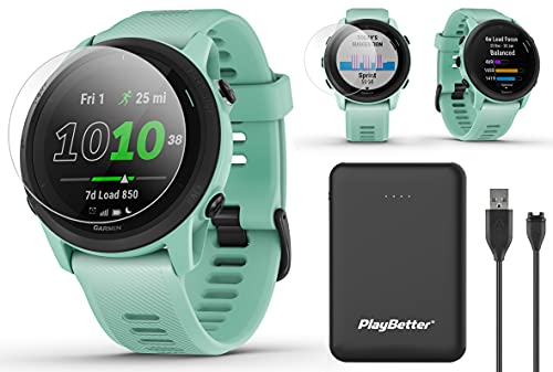 Garmin Forerunner 745 (Neo Tropic) Power Bundle   +HD Screen Protectors & PlayBetter Portable Charger   Heart Rate, Built-in Sports Apps, Music   Running & Triathlon GPS Watch