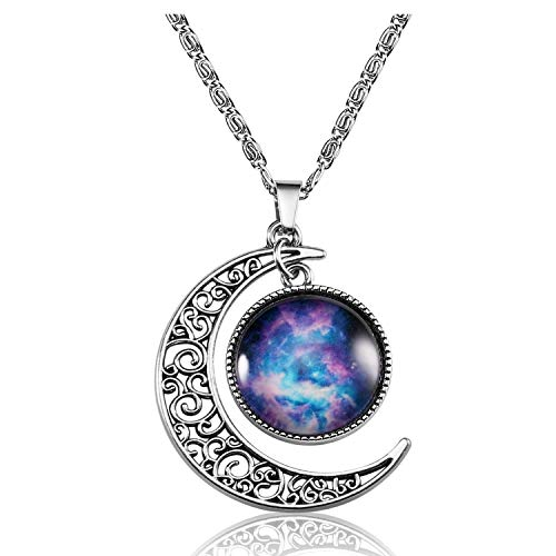 Lcbulu Galaxy Crescent Moon Pendant Necklaces Jewelry for Women Teen Girls 18''