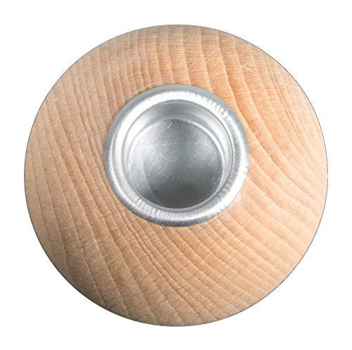 Rayher 63057505 Rohholzkugel Kerzenhalter, 7 cm ø, Natur, Box 1 Stück, Normal