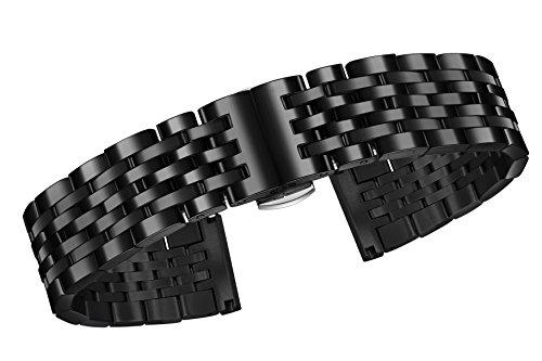 23mm cinghie di metallo nero premium per orologi in acciaio inossidabile...