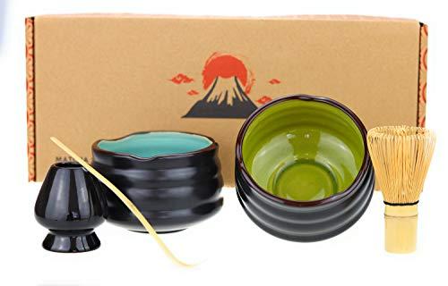 Urban Lifestyle Matcha Set Uji confezione doppia con 2 X ciotole, 1 X scopa (Chasen) 1 X porta scopa, 1 X cucchiaio, 1 X istruzioni per l' uso. verde/blu