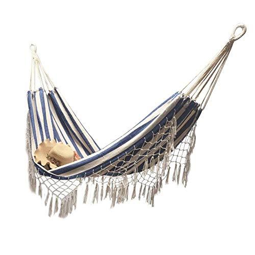 Hangmat 2 persoons katoenen hangmat omzoomde macrame hangstoel met draagtas voor tuintuin buiten