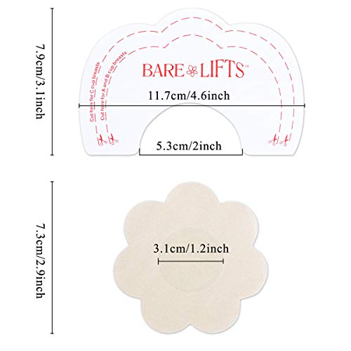 MELLIEX 10 Pares Cubierta de Pezón + 10 Pares Breast Lift Stickers, Desechable Invisible Adhesiva Nipplecovers Push-up Tape para Mujeres