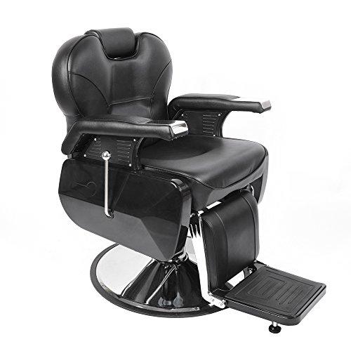 Fauteuil de Coiffeur Classic Hydraulique Inclinable Barber Reclinable 360°en PU Cuir pour Salon Professionnel, 96 x 94 x 84 cm, Noir