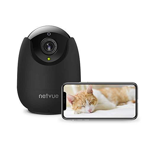 NETVUE WLAN IP Kamera 1080P HD, Überwachungskamera Indoor Alexa Babyphone mit Kamera,Videoüberwachung mit 2-Wege-Audio, und Nachtsicht, Innen Schwenkbar Kamera mit Cloud-Speicher und SD Karte