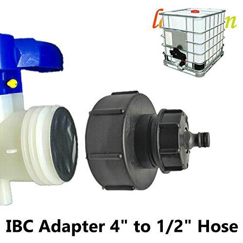 BE-TOOL IBC-Adapter, Wassertank-Armatur IBC Wasserhahn-Schlauchkappe Wasser 10,2 cm bis 1,27 cm Schlauch passend für Stillage Tank Auslaufschlauch 1000 Liter