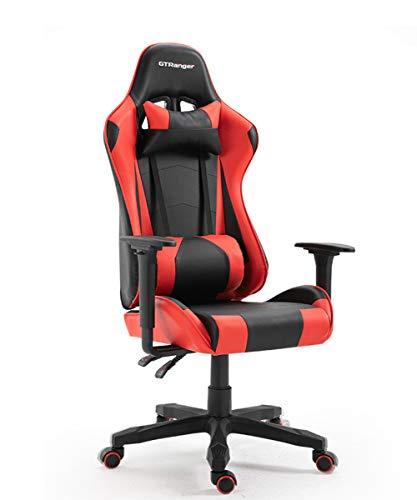 ZRSZ - Silla para videojuegos (altura regulable, con reposabrazos, respaldo alto y reposabrazos integrados ajustables, sillón de chef (negro y rojo)