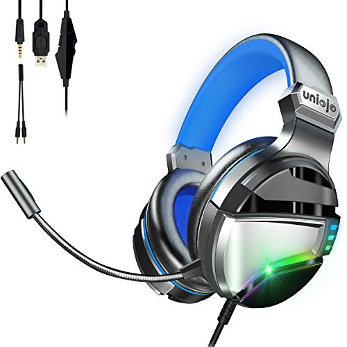 Gaming Headset with Mic,UNIOJO Stereo PS4 Headset,Xbox One Headset,Professional Gaming Headphones with Micphone,LED Light, Vibration Effect, Noise Cancelling for PS4,PS5 Controller,Xbox One,PC,Laptop