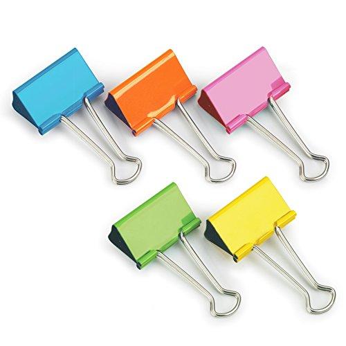 Rapesco FBC41COL Caja de 10 Pinzas, Clips de 41 mm, Capacidad de 175 Hojas, Colores Surtidos