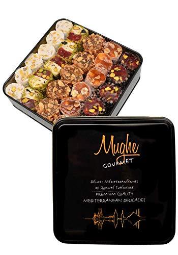 Deluxe Auswahl Türkische Köstlichkeiten Pistazie 1 kg Geschenkdose (52-54 Stück) Traditionelle gemischte Lokum-Schokolade. Sultan Orange Haselnuss-Mandel Köstlichkeiten Süße Mix-Geschenke