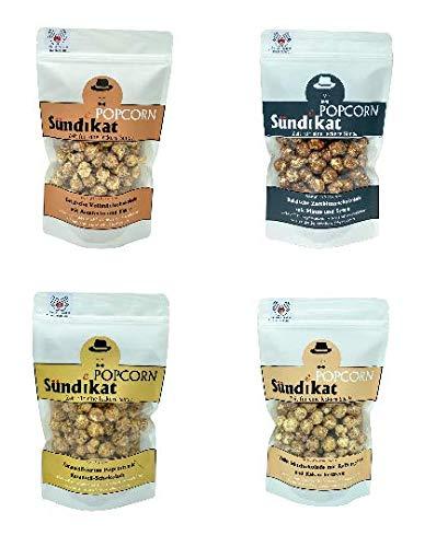 Popcorn Sündikat Gourmet Popcorn Genuss Variationen Set Extra Karamell Kaffee Amaretto Zartbitter Minze 4 Beutel 80 Gramm