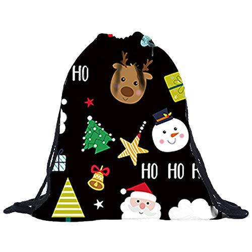 3D Digital Print Bouquet Pocket Rucksack Sporttaschen Gym Sack Turnbeutel Sportbeutel Weihnachten Christmas Unisex Wasserdicht FüR Fitness Non-Woven Taschen Kordelzug Frauen Tasche(D,30cmx1cmx39cm)