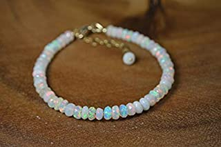 Genuine Ethiopian Welo Opal Bracelet in 14k Gold Fill // October Birthstone // 14th Anniversary // Statement Opal Jewelry ...