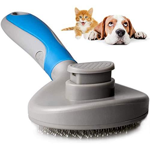 MICHETT Hundebürste Selbstreinigende Bürste (2 Stück) für Die Fellpflege zum Entfernen von Matten und Verwicklungen Hautfreundliche Unterwolle Bürste Eine Einfache Handhabung (Blau)