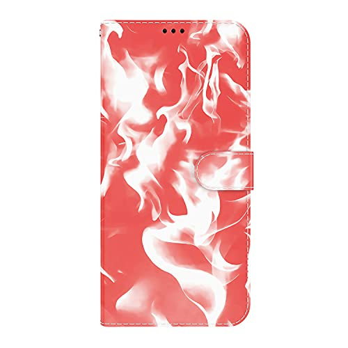 JZ Cloud Pattern Design Funda For para Moto G9 Play Cash Credit Card Holder Stand Magnetic Wallet Protective Flip Cover For para Motorola Moto G9 Play/Moto E7 Plus - Red