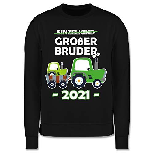 Shirtracer Geschwister Bruder - Einzelkind Großer Bruder 2021 Traktor weiß - 104 (3/4 Jahre) - Schwarz - JH030K_Kinder_Pullover - JH030K - Kinder Pullover