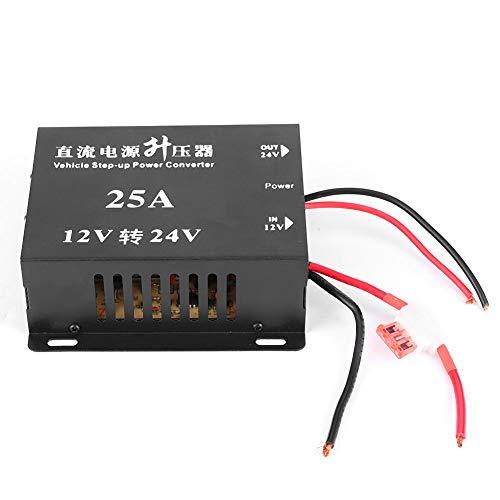 Regun Convertidor de Voltaje de 25A 12V a 24V - Convertidor de Voltaje de 25A 12V a 24V Transformador Elevador de Fuente de alimentación para automóvil para modificación de navegación de Audio