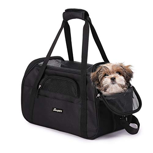 "JESPET Soft Sided Pet Carrier Comfort for Airline Travel for Small Animals/Cats/Kitten/Puppy, Black, 17"" x 9"" x 11.5"""
