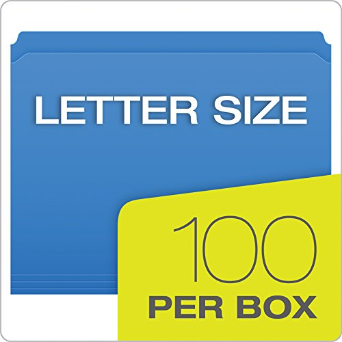 Pendaflex Color Reinforced Top File Folders, Letter Size, Full Tab Position, Blue, 100 Per Box (R152 BLU) Photo #2