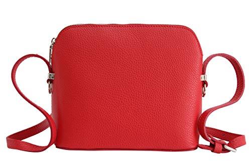 AMBRA Moda Italienische Ledertasche Damen Handtasche Umhängetasche Schultertasche Leder Tasche klein GL018 (Rot)