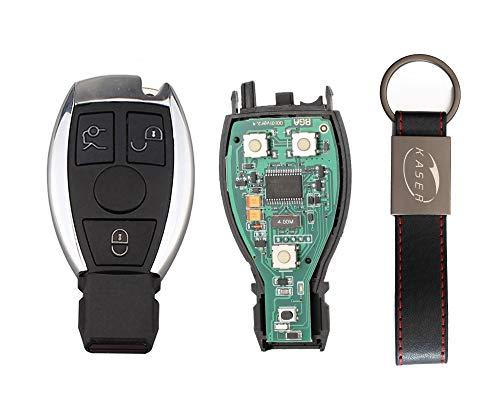 kaser Llave Mando Coche para Mercedes con Tarjeta Electrónica 3 Botones para Classe A C E CLA GLA GLK 433MHz Transponder con Llavero KASER