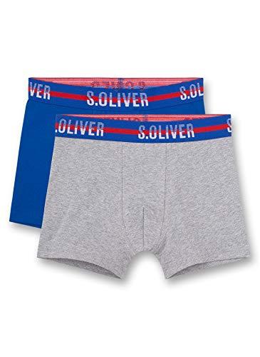 s.Oliver Jungen Shorts im Doppelpack Boxershorts, Grau (Grey Mel. 1737), (Herstellergröße: 176) (2er Pack)