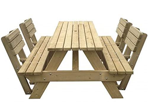 Picknicktisch 'Luxus' 180 cm inklusive 4 Rückenlehnen (patentiert), schwerlast Picknicktisch aus 40 mm FSC Fichtenholz, druckimprägniert
