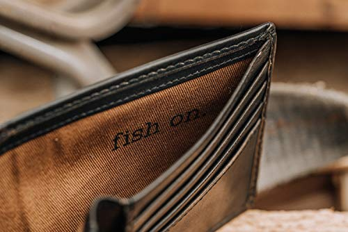 HOJ Co. BASS FISH Bifold Wallet With Flip ID | Full Grain Leather With Hand Burnishing | Fish Wallet | Fisherman Gift