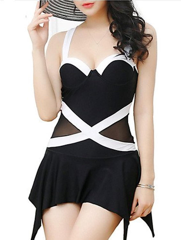 SNEEDWomen's Halter Onepieces , color Block Double Strap Polyester Black