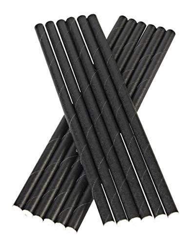 Cannucce per cocktail in carta, 300 pezzi, diametro 8 mm, compostabili, colore nero