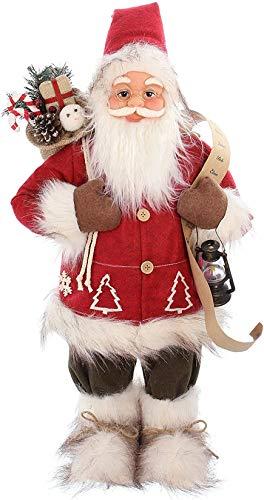 große Weihnachtsmann Deko-Figur Geschenke, 65 cm hoch, rot-grau, mit Geschenkesack, Nikolausfigur