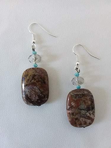 Farbige Ohrringe - große rechteckige Anhänger - braun, grün, blau, beige, rost - harte Steine - Jaspis - Frauengeschenkidee