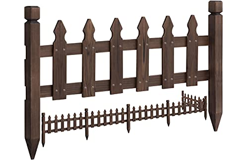 Topeakmart Wood Picket Garden Fence Edging Fencing Garden Yard Border Edging Panels Posts Flower Plants Pool Fences (177.5 in)